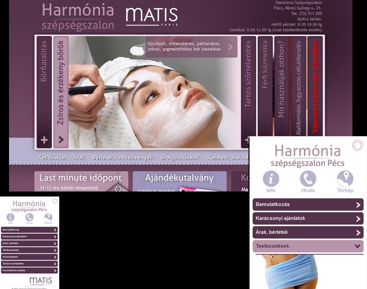 Pecsikozmetika.hu mobilos bemutatkozó oldal