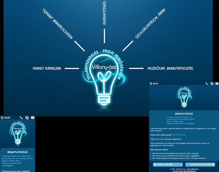 villany-asz.hu weboldal mobilbarát verziójának elkészítése